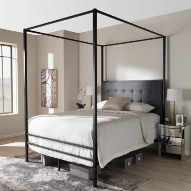 Baxton Studio Contemporary Canopy Queen Bed in Black Finish