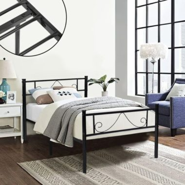 GreenForest Twin Bed Frame Metal Platform with Stable Metal Slats Stable Headboard and Footboard Black,Twin