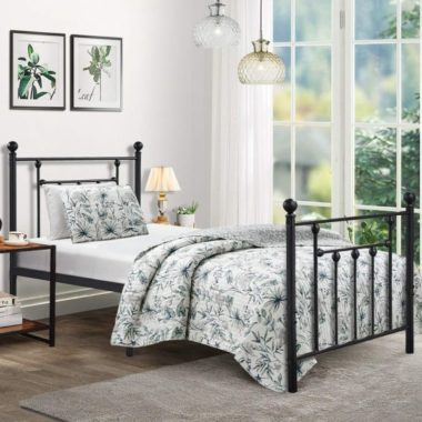 Twin Size Bed Frame, VECELO Metal Platform Mattress Foundation Box Spring Replacement with Headboard Victorian Style