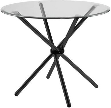36 Inch Round Hydra Breakfast Table With Clear Tempered Glass And Black Finish Base