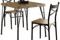 Benzara BM119853 Industrial Style 3 Piece Dining Table Set of Wood and Metal, Brown and Black