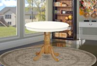 East West Furniture ANT-LOK-TP Antique Dining Table, 36 Round, Linen White and Oak Finish