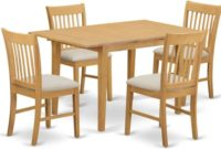 East West Furniture NOFK5-OAK-C 5-Piece Dinette Table Set, Oak Finish