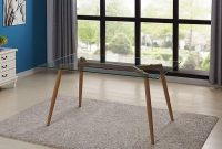 Kitchen Dining Room Table with Glass Top and Wooden Look Leg Modern Coffee Table Rectangular - Table Only