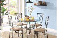 MSS 5-Piece Glass and Metal Dining Set, Includes table and 4 chairs, Solid metal tubing, Easy assembly, Upholstered seat cushions, Comfortably seats four people with 42 inch round table surface
