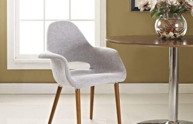 Modway Aegis Mid-Century Modern Upholstered Fabric Kitchen and Dining Room Chair with Wood Legs in Light Gray