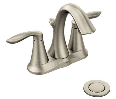 Moen 6410BN Eva Two-Handle Centerset Bathroom Faucet with Drain Assembly, Brushed Nickel