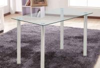 Ohana White Modern Tempered Glass Dining Table Set Rectangular Transparent Kitchen Tables Metal Legs