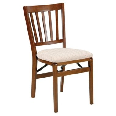 Schoolhouse Wood Folding Chair with Upholstered Seat (Set of 2) Finish Fruitwood