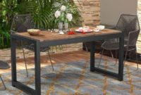 Tribesigns Solid Wood Dining Table, Outdoor Patio Dining Table Furniture with Metal Frame Perfect for Patio