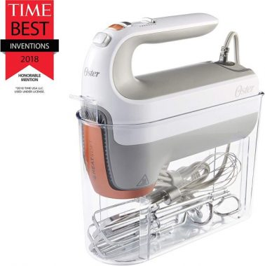 Oster 270-Watt Hand Mixer with HEATSOFT Technology 7 Speeds Includes Whisk, Dough Hooks, and Storage Case