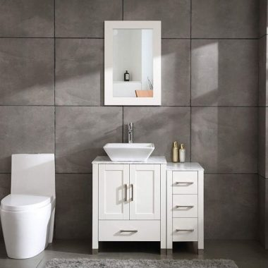 36 White Bathroom Vanity Cabinet Wood with Glass Marble Top Vessel Sink Mirror Faucet and Drain (Solid Wood + Marble Top)