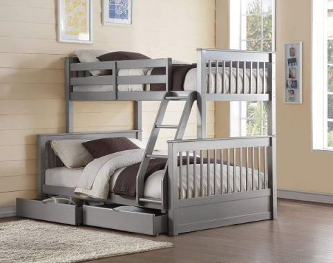 ACME Furniture 37755 Haley II Storage Bunk Bed, Twin Over Full, Gray