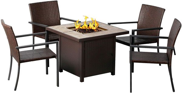 BALI OUTDOORS Propane Fire Pit Table, Outdoor Companion, 32 Inch 50,000 BTU Auto-Ignition Gas Fire Pit Table with 4 Vine Chairs, as Table in Family Summer