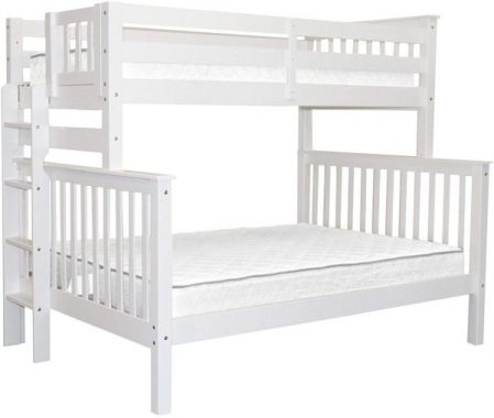 Bedz King Bunk Beds Twin over Full Mission Style with End Ladder, White
