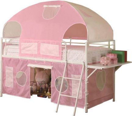 Coaster Home Furnishings Sweetheart Tent Loft Bed, Pink White