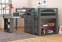 Donco Kids Low Loft Bed with Desk, Twin, Dark Grey