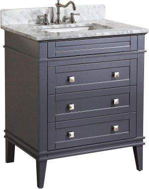 Eleanor 30-inch Bathroom Vanity (Carrara Charcoal Gray) Includes a Charcoal Gray Cabinet, Soft Close Drawers, a Natural Italian Carrara Marble Countertop, and a Ceramic Sink