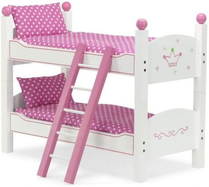 Emily Rose 18 Inch Doll Furniture Bed for My Life Dolls 2 Single Beds - Stackable Doll Bunk Bed with Ladder and Doll Bedding - Hand-Painted Fits 18 American Girl and Journey Girls Dolls