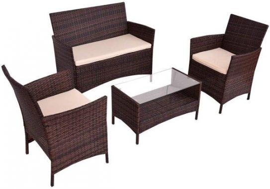 Goplus 4-Piece Rattan Patio Furniture Set Garden Lawn Pool Backyard Outdoor Sofa Wicker Conversation Set with Weather Resistant Cushions and Tempered Glass Tabletop (Mix Brown)