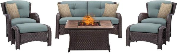 Hanover STRATH6PCFP-BLU-TN Strathmere Table Outdoor Patio 6 Piece Lounge Set, Ocean Blue with Stone Top Fire Pit