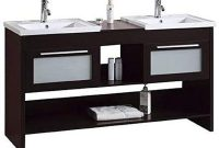 Modern Freestanding Espresso Double Bathroom Vanity Sink Set His and Her Farmhouse Vanity and Sink Combo with Extra Storage Shelves and Drawers 60 Inches