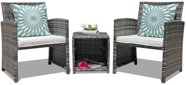 OC Orange-Casual 3-Piece Outdoor Wicker Bistro Patio Furniture Set Cushioned Chair Conversation Set & Storage Side Table Space Saving Design Garden Lawn
