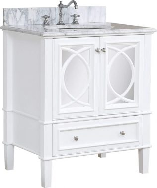 Olivia 30-inch Bathroom Vanity (Carrara White) Includes Italian Carrara Countertop, a White Cabinet, Soft Close Drawers, and a Ceramic Sink