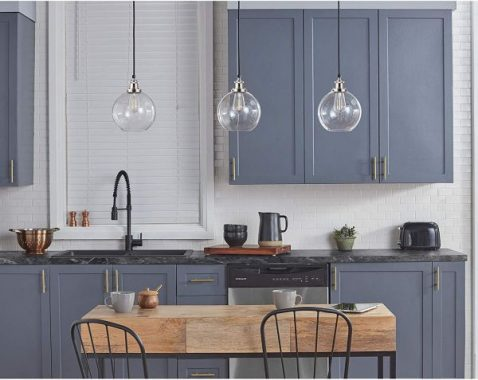 Primo Industrial Kitchen Pendant Lighting Brushed Nickel Hanging Light Fixture LL-P429-BN