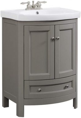 RunFine RFVA0069G 24 inch Wide All Wood Modern Gray Vanity with vitreous China top, 2 Doors and 1 Slow Close Arch Drawer