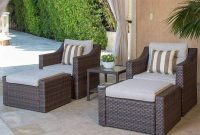 SOLAURA 5-Piece Sofa Outdoor Furniture Set, Wicker Lounge Chair & Ottoman with Neutral Beige Cushions & Glass Coffee Side Table - Brown