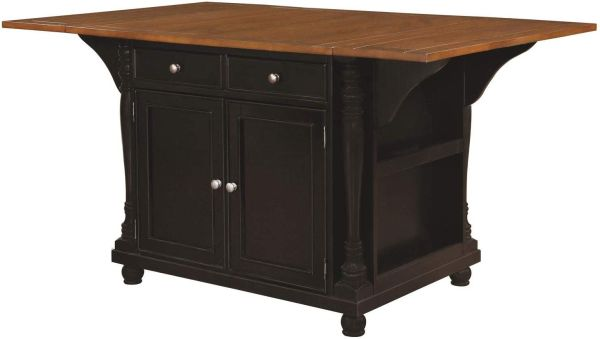 Slater 2-drawer Kitchen Island with Drop Leaves Brown and Black