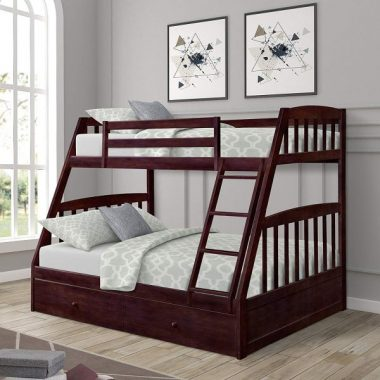 Twin Over Full Bunk Bed with Storage Drawers, WeYoung Solid Wood Bunk Bed Frame with 2 Raised Panel Bed Drawers, Separate to Twin Full Bed (Espresso)