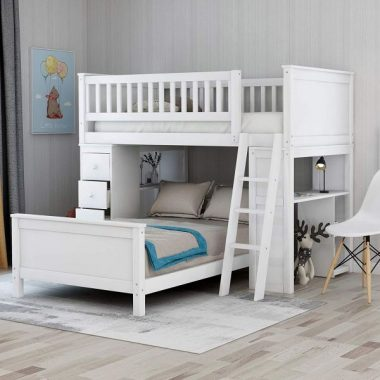Twin Over Twin Size Bunk Beds Loft Bed with Shelves & 4 Drawers for Kids (White)