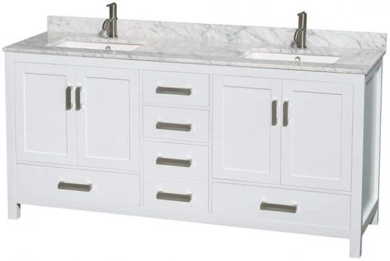 Wyndham Collection Sheffield 72 inch Double Bathroom Vanity in White, White Carrara Marble Countertop, Undermount Square Sinks, and No Mirror