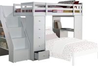 ACME Freya White Loft Bed with Bookcase Ladder