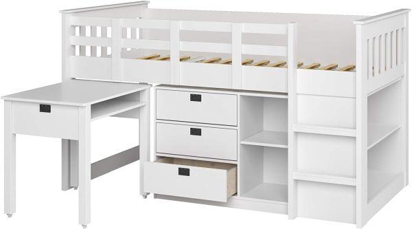 CorLiving Madison Loft Bed, Single Twin, Snow White