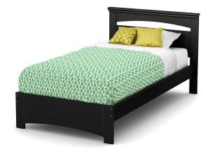 South Shore Libra Bed & Headboard Set, Twin 39-Inch, Pure Black