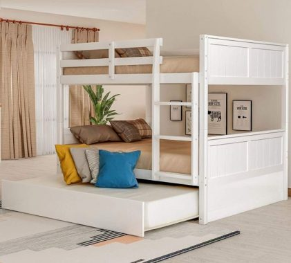 Basic Houseware Full Over Full Bunk Bed with Trundle Trundle,Solid Wood Bunk Bed Frame Convertible Full Size with Rails and Ladder for Adults (White)