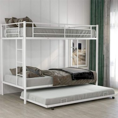 Bellemave Bunk Bed with Trundle, Twin Over Twin bunk Bed with Trundle, with Safety Guard Rails for Kids Teens Adults. (White)