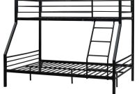 Bonnlo Bunk Bed Twin Over Full Sturdy Metal Bed Frame with Flat Ladder and Guardrail for Adults Children Teens, Black