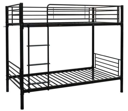 Bonnlo Metal Bunk Bed Twin Over Twin Heavy Duty Bed Frame with Safety Guard Rails & Flat Ladder W Rubber Cover for Kids Teens Adults, Black