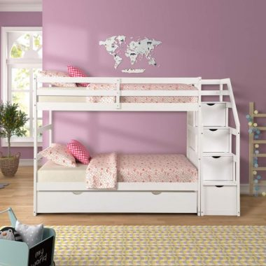 Bunk Beds Twin Over Twin with 4 Drawers in The Steps and a Twin Trundle White