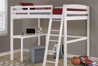 Concord Full High Loft Bed with Desk in White