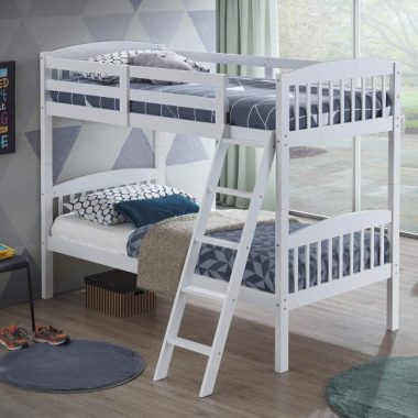 Costzon Twin Over Twin Bunk Beds, Convertible Into Two Individual Solid Rubberwood Beds, Children Twin Sleeping Bedroom Furniture W Ladder and Safety Rail for Kids Boys & Girl (White)
