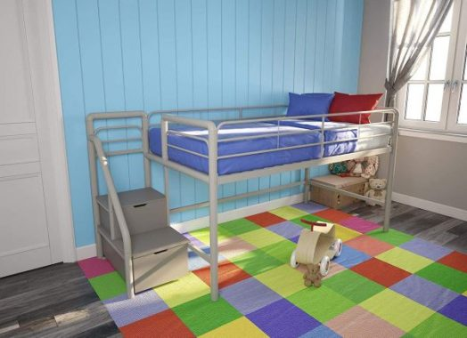 DHP Junior Metal Loft Bed with Storage Steps, Twin Size, Silver Gray Daybed,