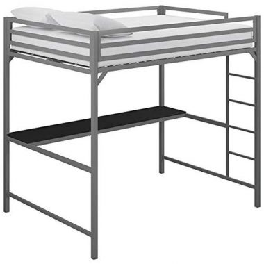 DHP Mabel Full Metal Loft Bed with Desk in Silver
