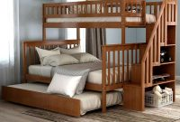 Full Stairway Bunk Beds Twin Over Full Size for Kids with 4 Storage Drawers in The Steps and Trundle(Walnut)