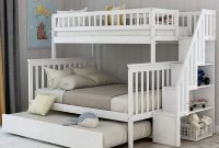 Full Stairway Bunk Beds Twin Over Full Size for Kids with 4 Storage Drawers in The Steps and a Trundle (White)
