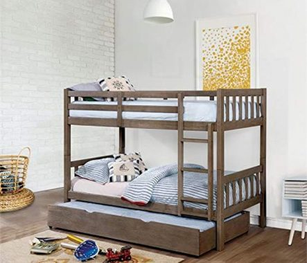 Furniture of America Chappel Twin Bunk Bed in Wire Brushed Warm Gray